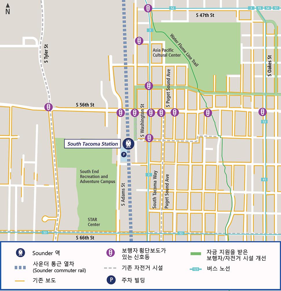 5650 South Washington Street, Tacoma, WA 98409에 위치한 South Tacoma 역의 항공 보기 지도
